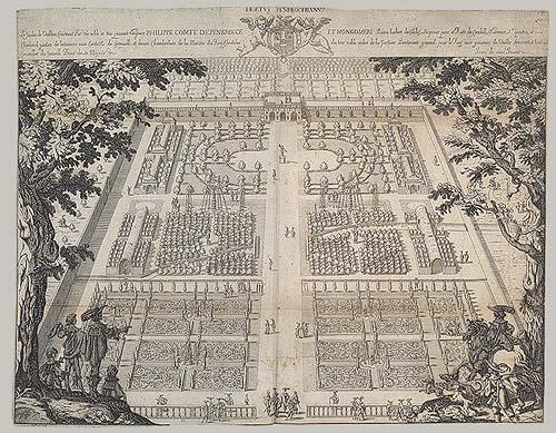 Een plattegrond van een Barok tuin.