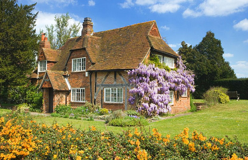 Cottage with wisteria, Surrey ,UK