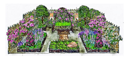 Runnymede Surrey Magna Carta 800th Anniversary Garden ontworpen door A Touch of France Garden Design