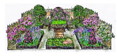 Runnymede Surrey Magna Carta 800th Anniversary Garden ontworpen door A Touch of France Garden Design