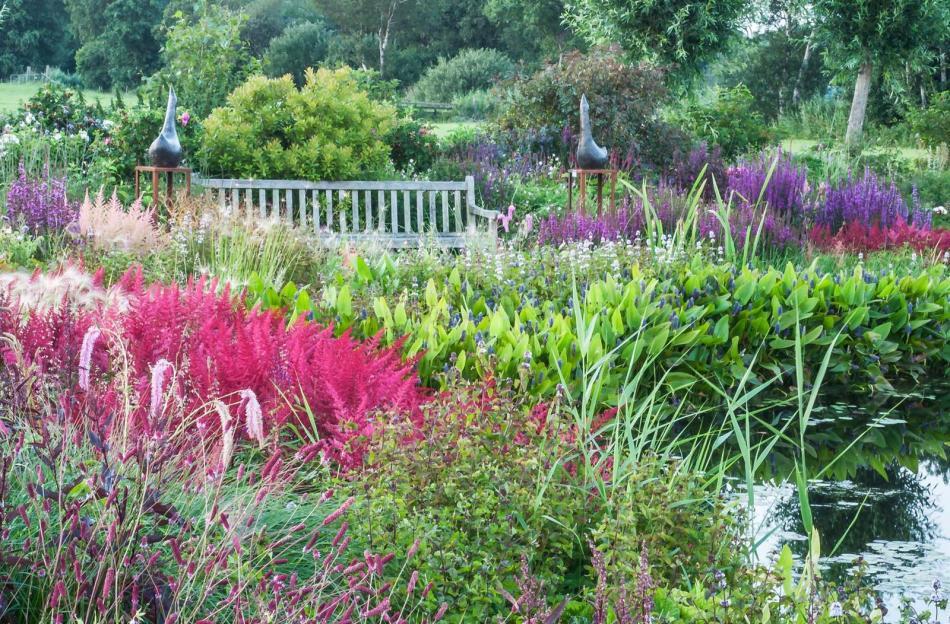 Spetterende kleuren in juli in de tuin van Ton ter Linden. Foto; Gert Tabak Visual art.
